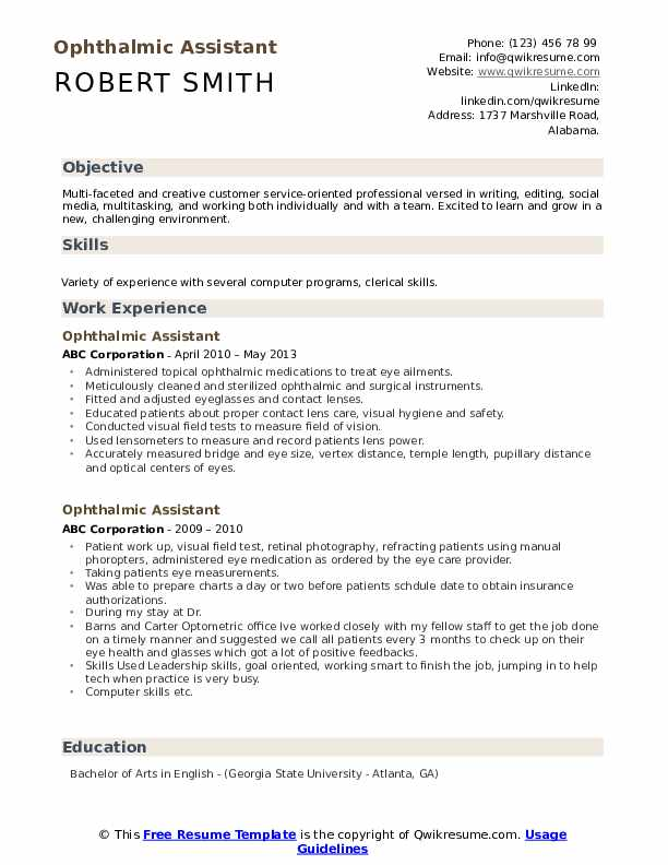 ophthalmic assistant resume samples qwikresume certified pdf pharmacy technician job Resume Certified Ophthalmic Assistant Resume