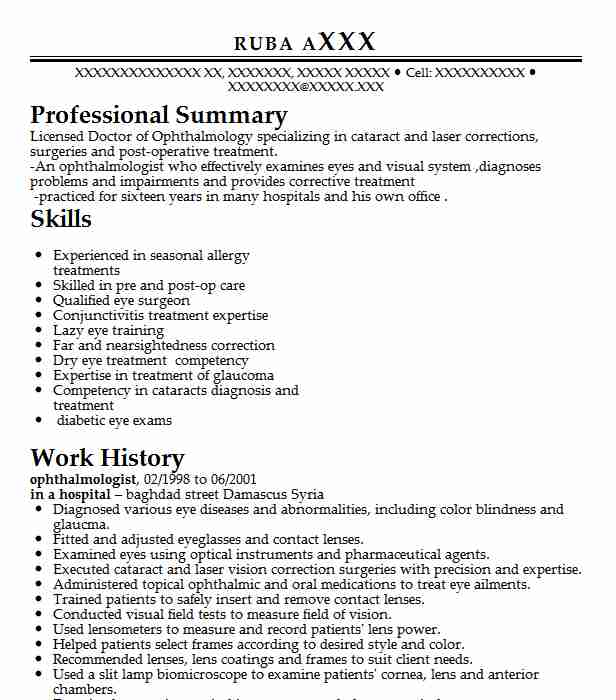 ophthalmologist resume example resumes misc livecareer certified ophthalmic assistant Resume Certified Ophthalmic Assistant Resume