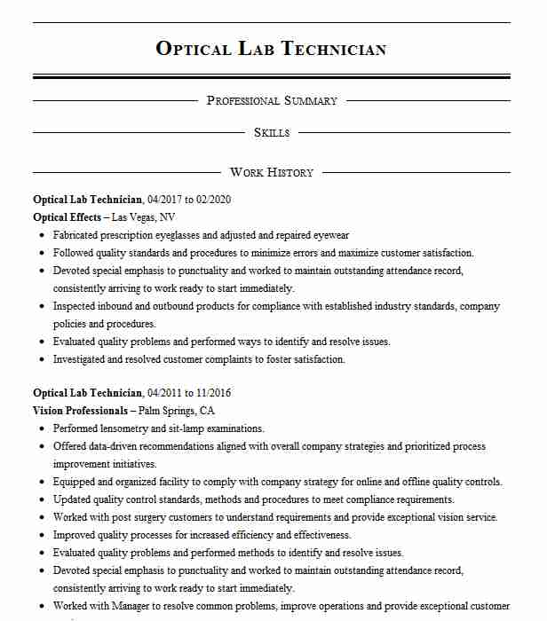 optical lab technician resume example eyemart express sample keywords for manufacturing Resume Optical Technician Resume Sample