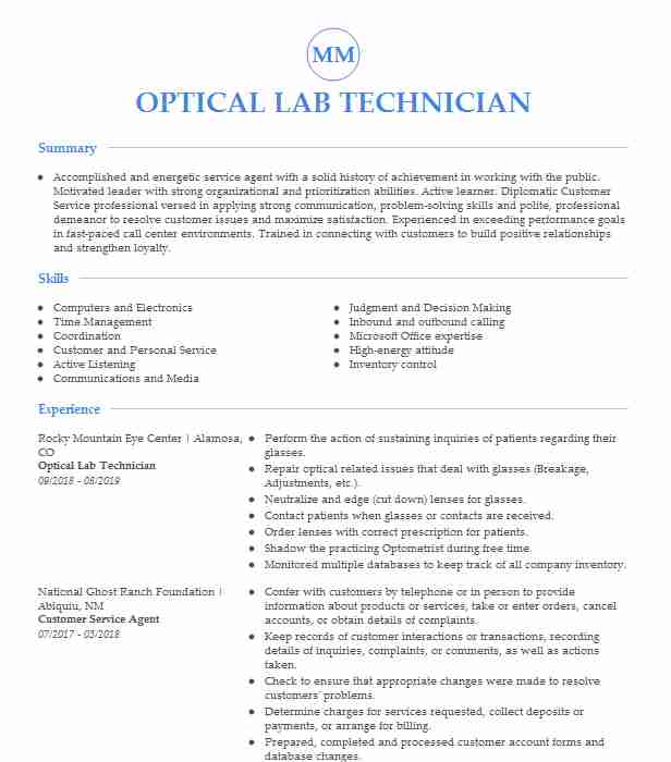 optical lab technician resume example southern sample react native developer graphic Resume Optical Technician Resume Sample