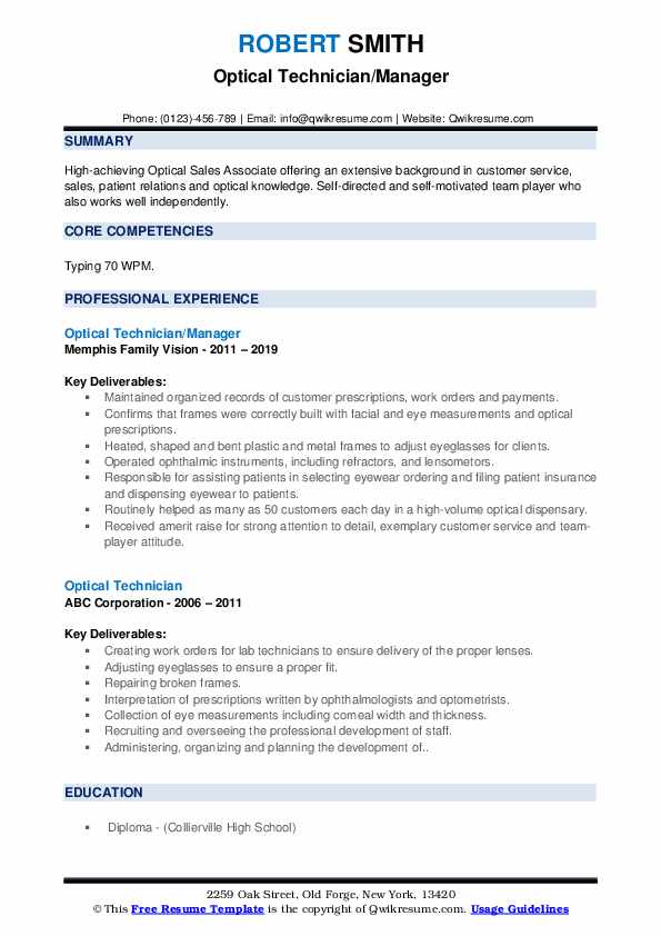 optical technician resume samples qwikresume sample pdf should you staple your template Resume Optical Technician Resume Sample