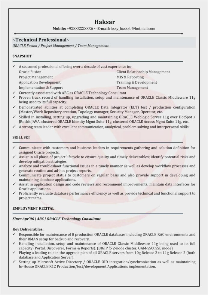 oracle resume format for experienced sample skills managed care machine learning years Resume Oracle Dba Skills Resume
