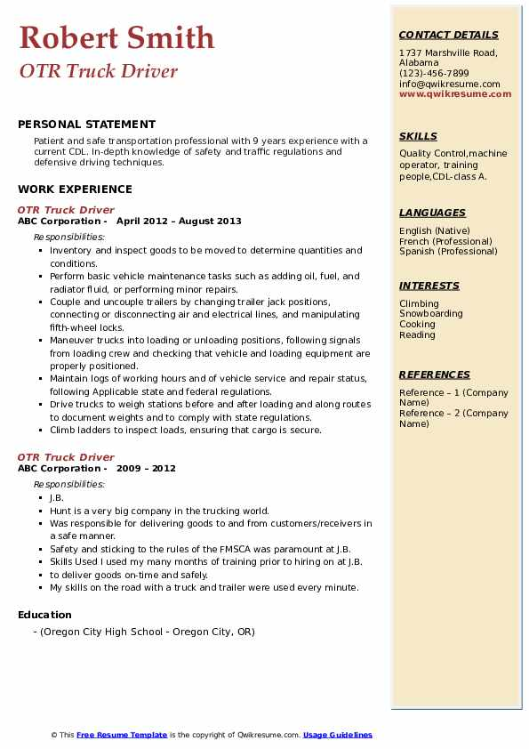 otr truck driver resume samples qwikresume pdf cable technician brief background summary Resume Otr Truck Driver Resume