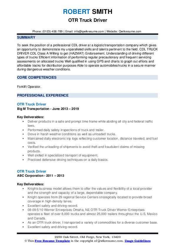 otr truck driver resume samples qwikresume pdf osha certification on excellent examples Resume Otr Truck Driver Resume