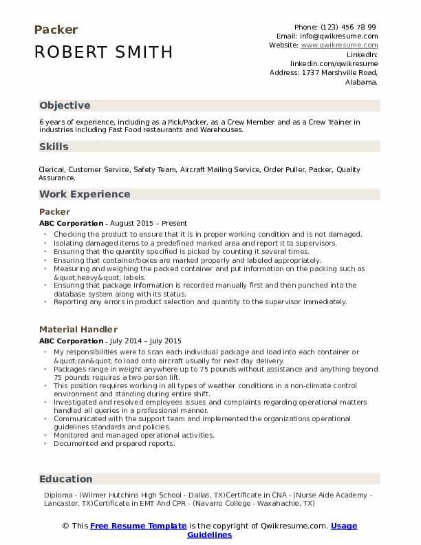 packer resume samples qwikresume picker job description for pdf entry level programmer Resume Picker Packer Job Description For Resume