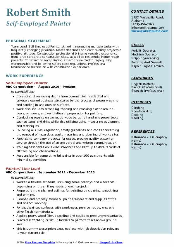 painter resume samples qwikresume examples pdf teaching assistant description oracle 10g Resume Painter Resume Examples