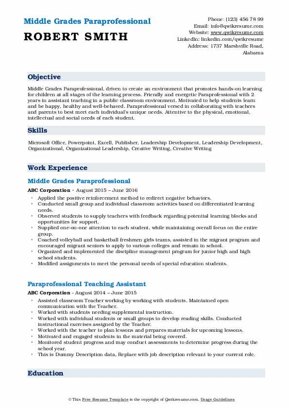 paraprofessional resume samples qwikresume examples pdf general objective for important Resume Paraprofessional Resume Examples