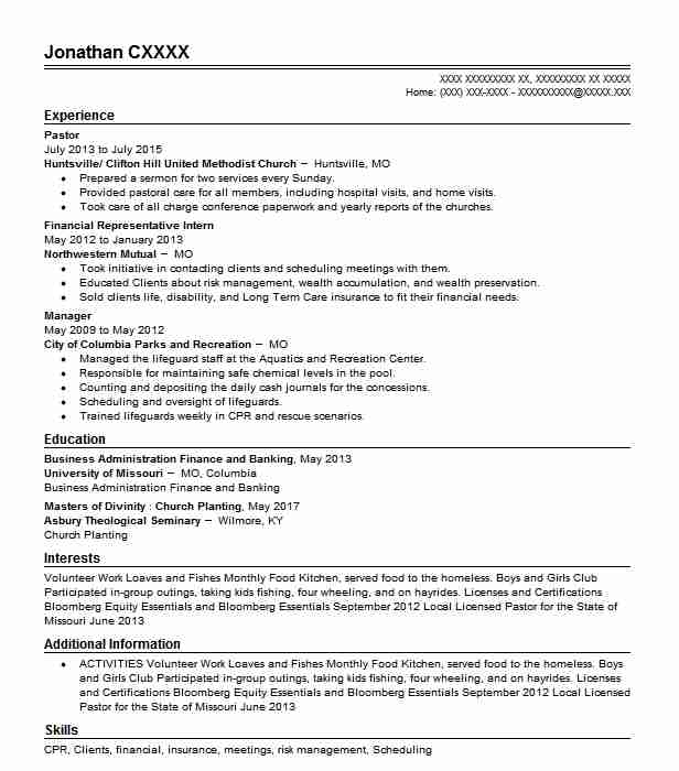 pastor resume example religion resumes livecareer for pastoral position writing career Resume Resume For Pastoral Position