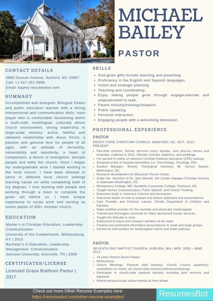 pastor resume samples templates pdf resumes bot sample for ministry position example Resume Resume For Pastoral Position