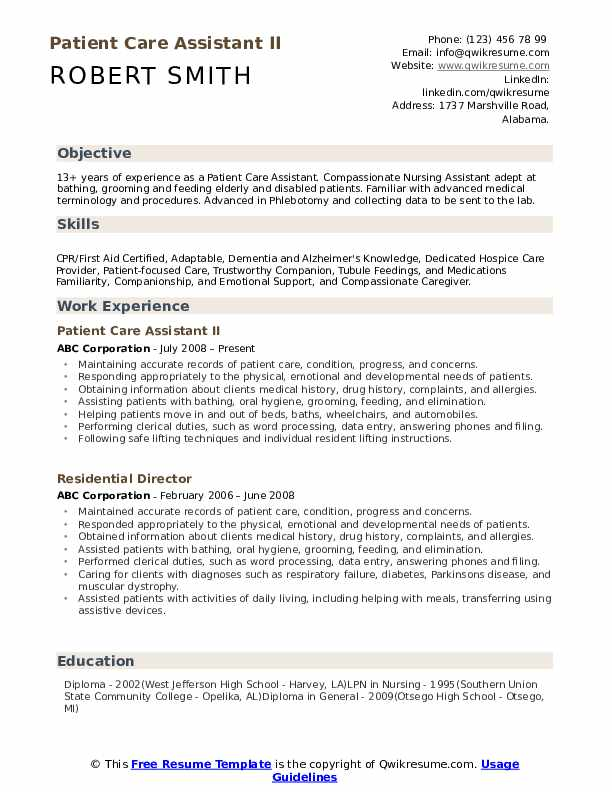 patient care assistant resume samples qwikresume examples pdf deedy sox auditor medical Resume Patient Care Resume Examples