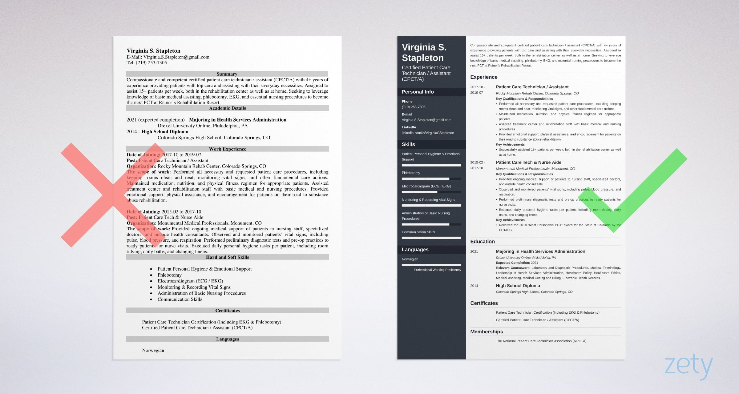 patient care technician resume sample skills examples example cash office duties sox Resume Patient Care Resume Examples
