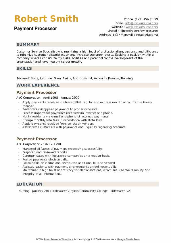 payment processor resume samples qwikresume processing sample pdf different types of Resume Payment Processing Resume Sample