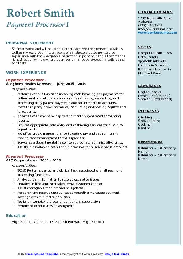 payment processor resume samples qwikresume processing sample pdf nursing student Resume Payment Processing Resume Sample