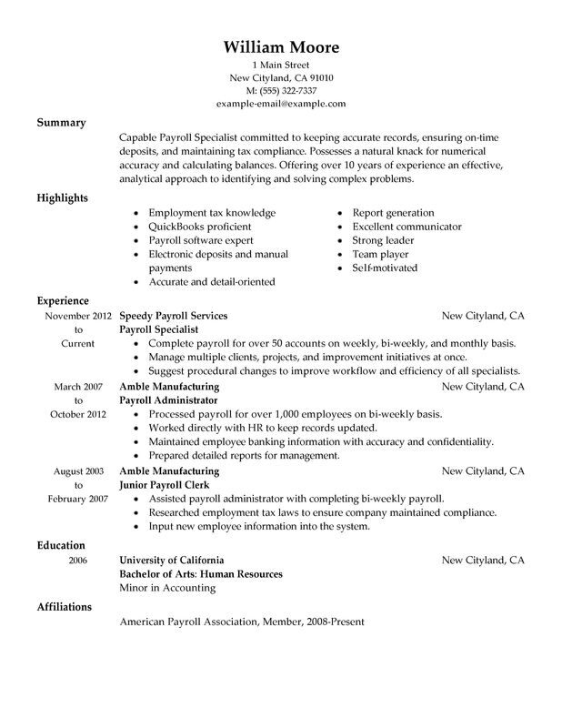 payroll specialist resume examples created by pros myperfectresume accountant accounting Resume Payroll Accountant Resume Examples