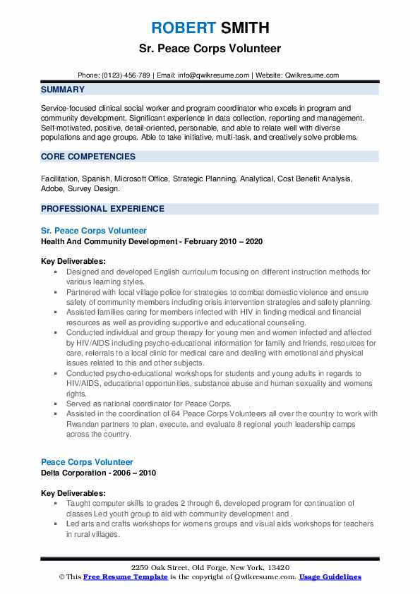 peace corps volunteer resume samples qwikresume example pdf slick different types of Resume Peace Corps Resume Example