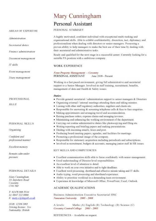 personal assistant cv sample secretary resume pic template front desk manager linux Resume Personal Secretary Resume Sample