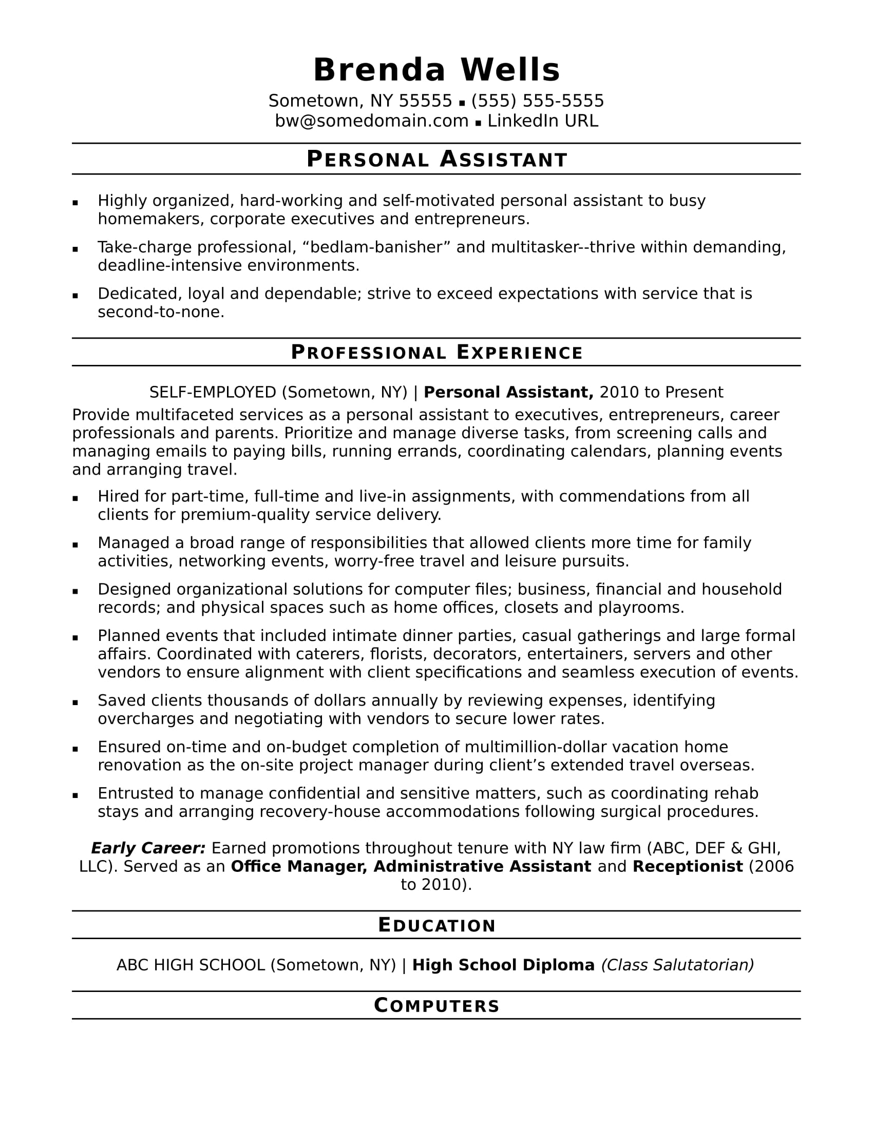 personal assistant resume sample monster self employed medical school application Resume Self Employed Resume Sample