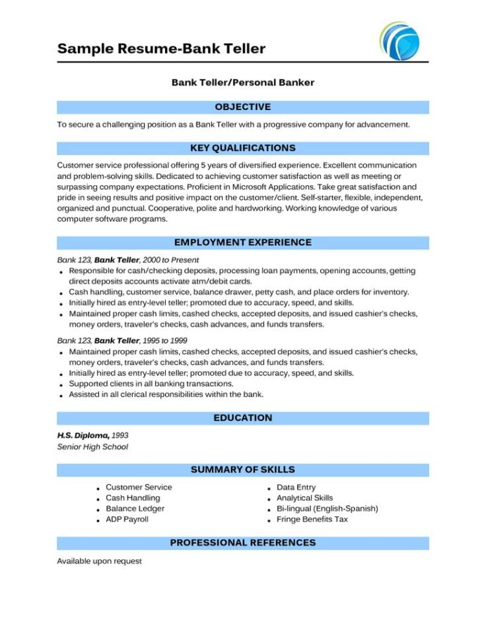 personal banker and resume example hdfc bank plano job description for create your own Resume Resume Objective For Bank Job
