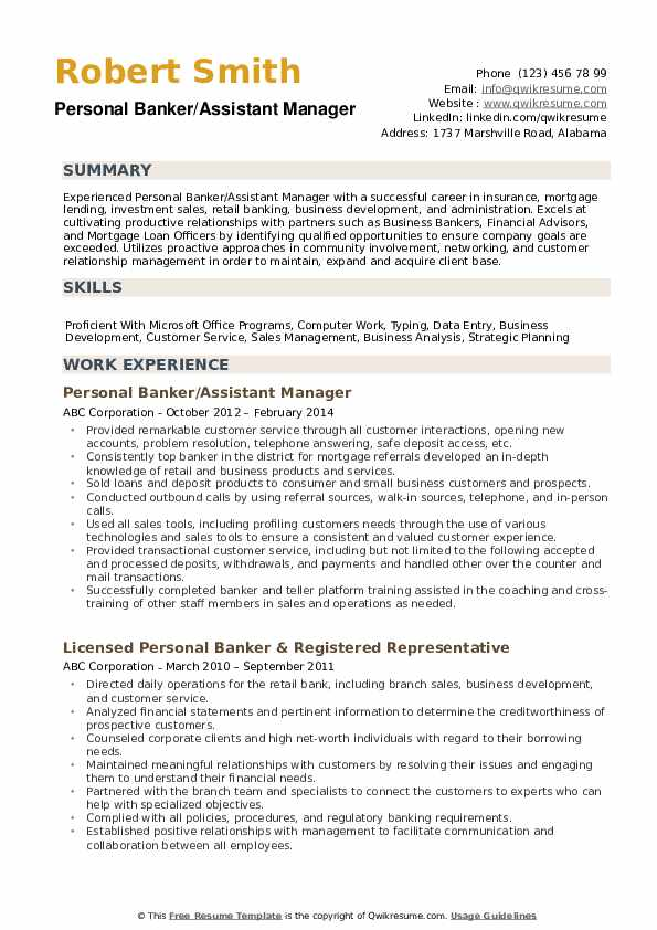 personal banker resume samples qwikresume professional banking template pdf workday Resume Professional Banking Resume Template