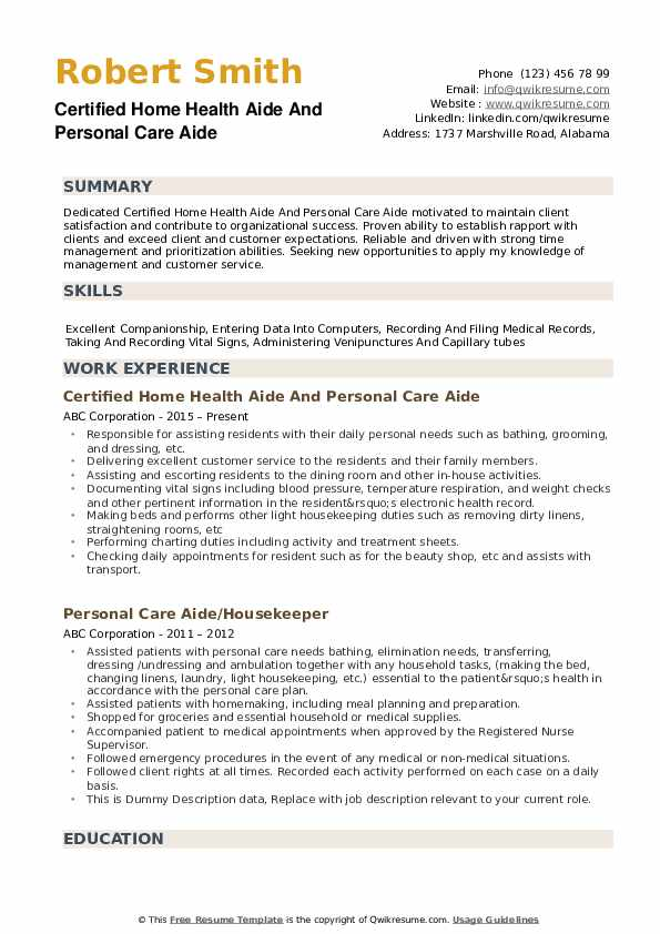 personal care aide resume samples qwikresume assistant examples pdf project management Resume Personal Care Assistant Resume Examples