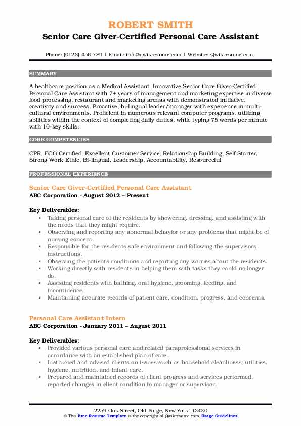 personal care assistant resume samples qwikresume examples pdf enterprise project Resume Personal Care Assistant Resume Examples