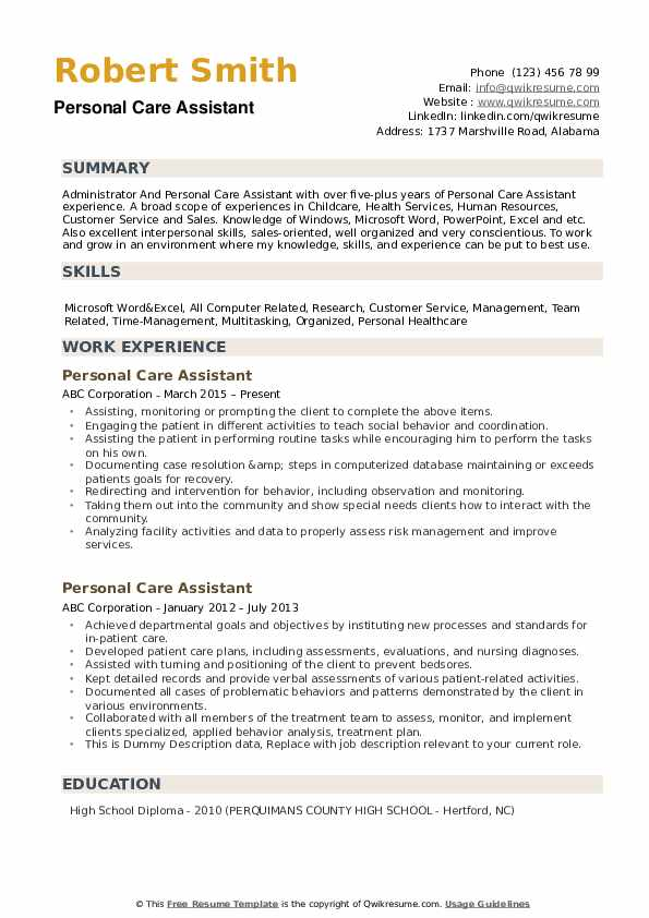 personal care assistant resume samples qwikresume examples pdf writing cover letter chief Resume Personal Care Assistant Resume Examples
