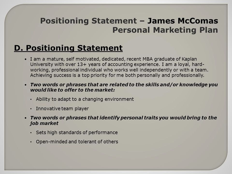 personal position statement examples luxury business plan positioning exampl marketing Resume Resume Positioning Statement
