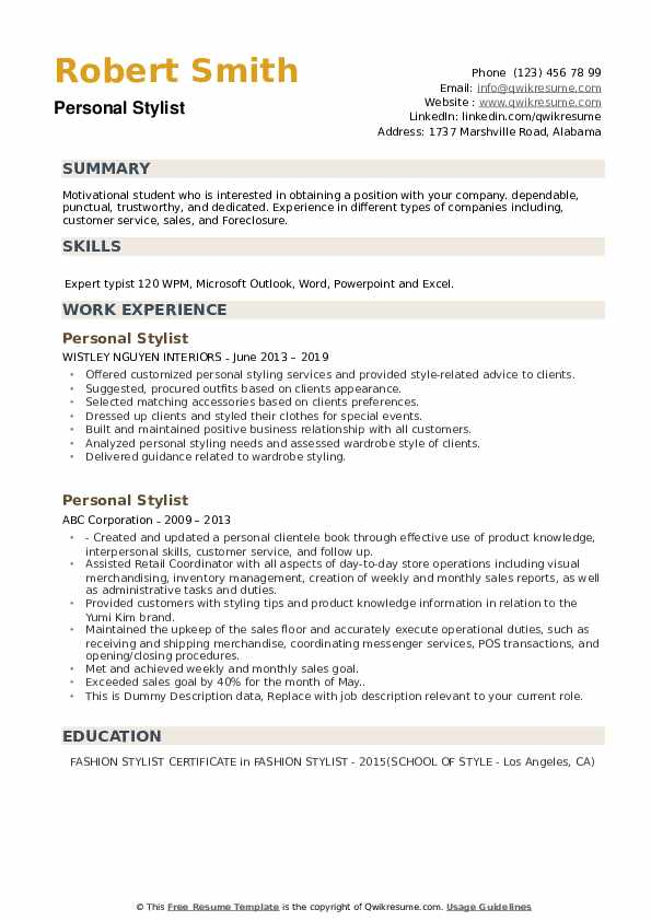 personal stylist resume samples qwikresume fashion summary pdf example of letter for Resume Fashion Stylist Resume Summary