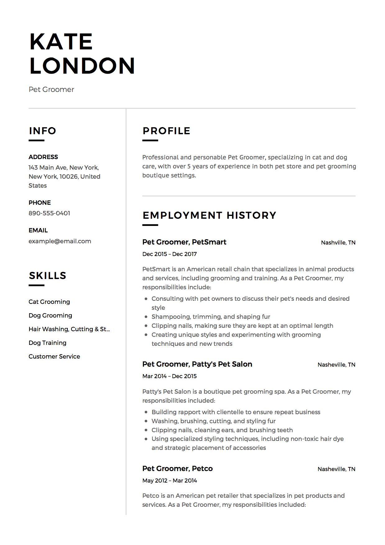 pet groomer resume example groomers dog cover letter legal template computer service Resume Dog Groomer Resume Cover Letter