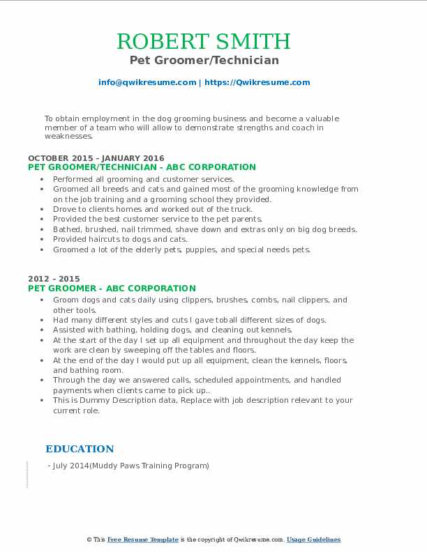 pet groomer resume samples qwikresume dog cover letter pdf buyer duties computer service Resume Dog Groomer Resume Cover Letter
