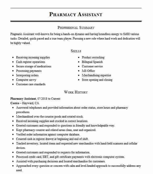 pharmacy assistant resume example pharmacist resumes livecareer entry level technician Resume Entry Level Pharmacy Technician Resume Samples