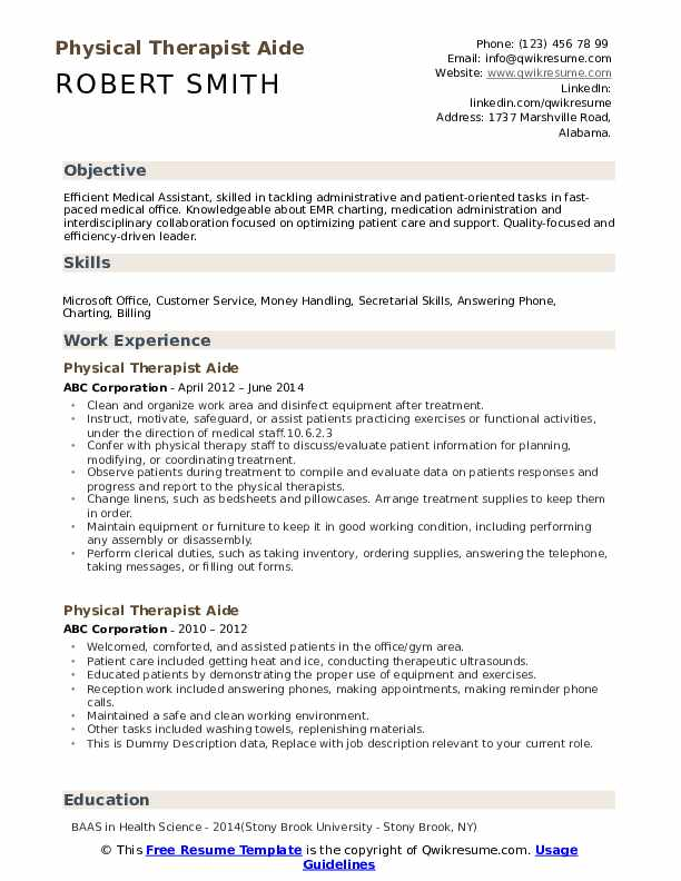 physical therapist aide resume samples qwikresume therapy pdf cna template free service Resume Physical Therapy Aide Resume