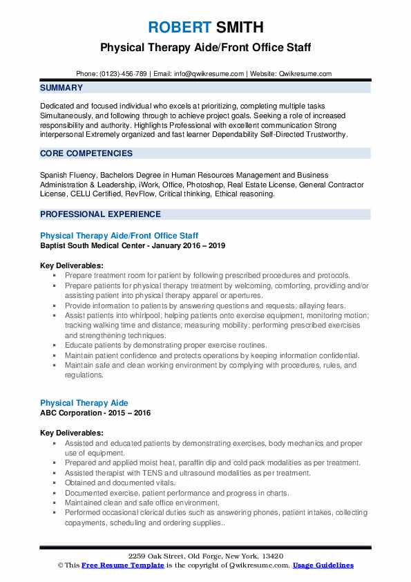 physical therapy aide resume samples qwikresume pdf best entry level examples hard skills Resume Physical Therapy Aide Resume