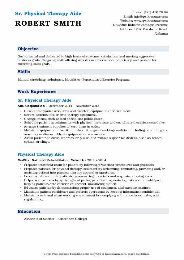 physical therapy aide resume samples qwikresume pdf summary examples service advisor free Resume Physical Therapy Aide Resume