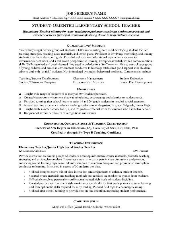pin by best sample cover letters on resume samples teacher template free education Resume Resume Examples Elementary Teachers
