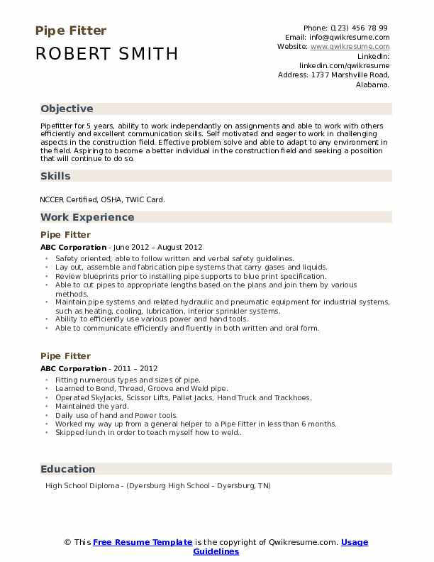 pipe fitter resume samples qwikresume construction pipefitter pdf opcd chief of staff Resume Construction Pipefitter Resume