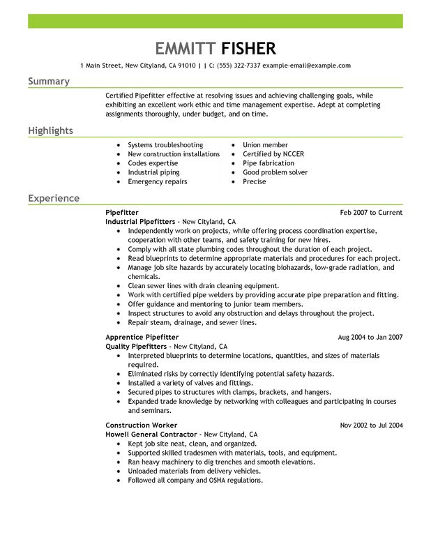 pipefitter resume examples created by pros myperfectresume construction professional Resume Construction Pipefitter Resume
