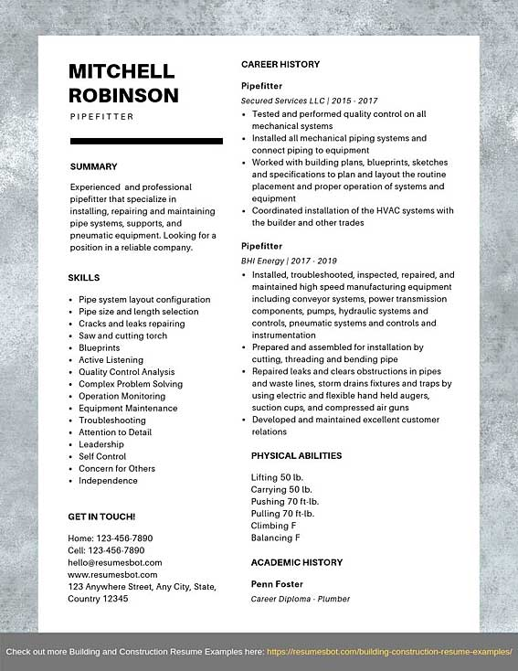pipefitter resume samples templates pdf word pipe fitter resumes bot construction example Resume Construction Pipefitter Resume