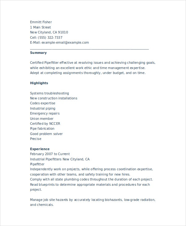 pipefitter resume template free word documents premium templates construction opcd Resume Construction Pipefitter Resume