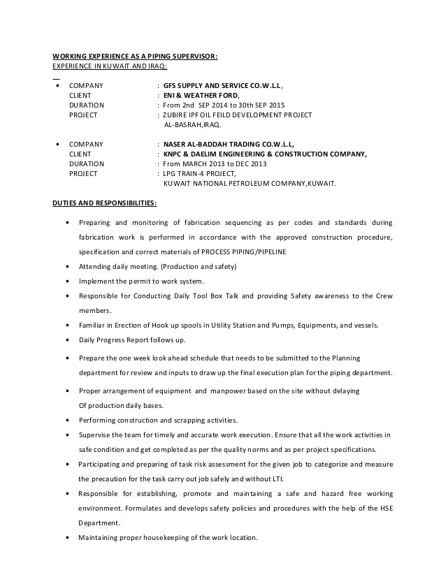 piping supervisor resume daycare teacher skills for talent coordinator associate product Resume Piping Supervisor Resume