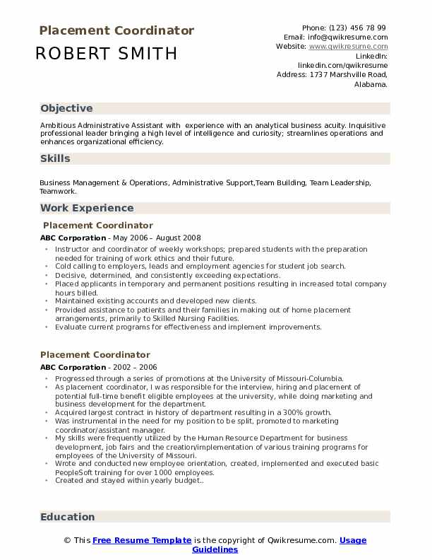 placement coordinator resume samples qwikresume format for pdf oracle database architect Resume Resume Format For Placement