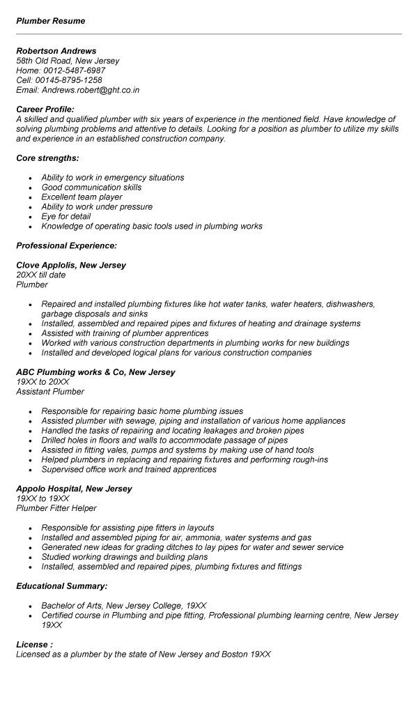 plumber resume resumes examples job cover letter construction pipefitter chief of staff Resume Construction Pipefitter Resume