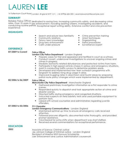 police officer cv template samples examples law enforcement resume full udacity review Resume Law Enforcement Resume Template