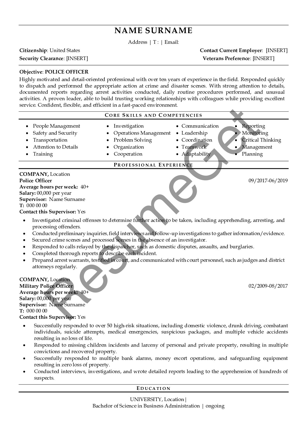 police officer resume examples resumeget skills middleware accountant responsibilities Resume Police Officer Skills Resume