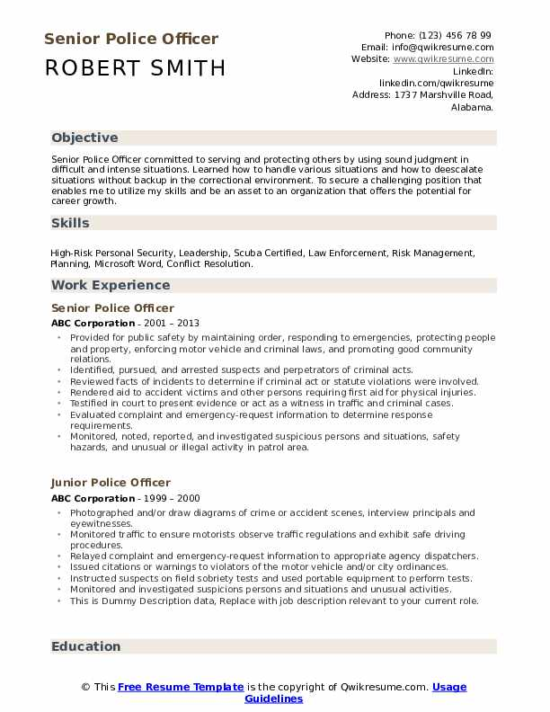 police officer resume samples qwikresume objective pdf free functional template visual Resume Police Resume Objective Samples