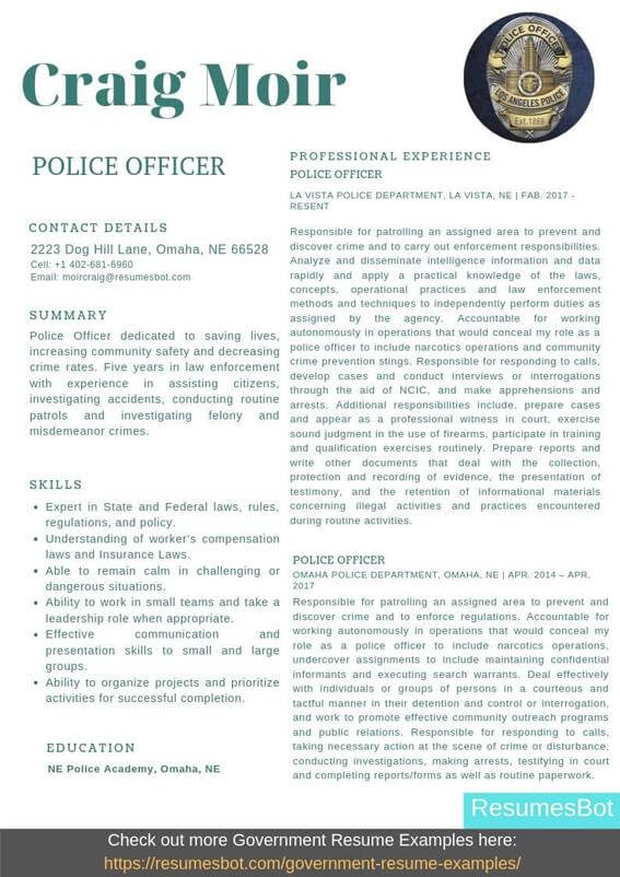 police officer resume samples templates pdf resumes bot objective example elementary Resume Police Resume Objective Samples