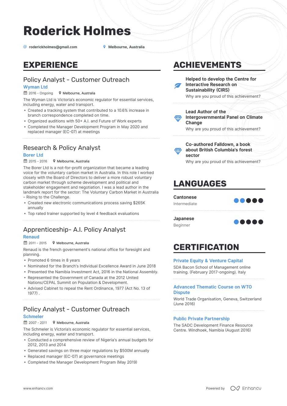 policy analyst resume example for enhancv forestry aws information security sample build Resume Forestry Resume Example
