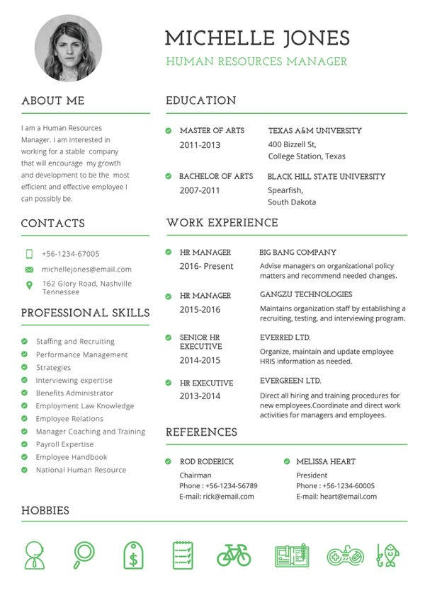 printable resume template free word pdf documents premium templates and professional hr Resume Free And Printable Resume Templates