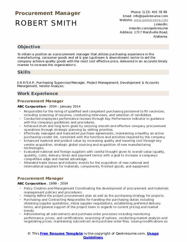 procurement manager resume samples qwikresume job description pdf canvasser for wufoo Resume Procurement Job Description Resume