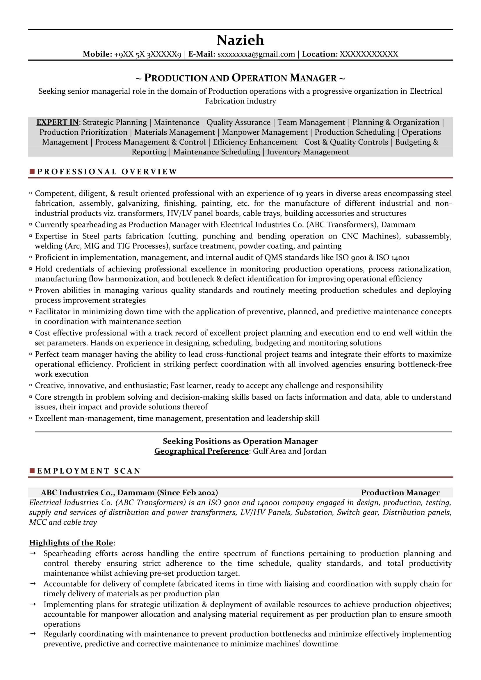 production manager sample resumes resume format templates project coordinator examples Resume Production Manager Resume